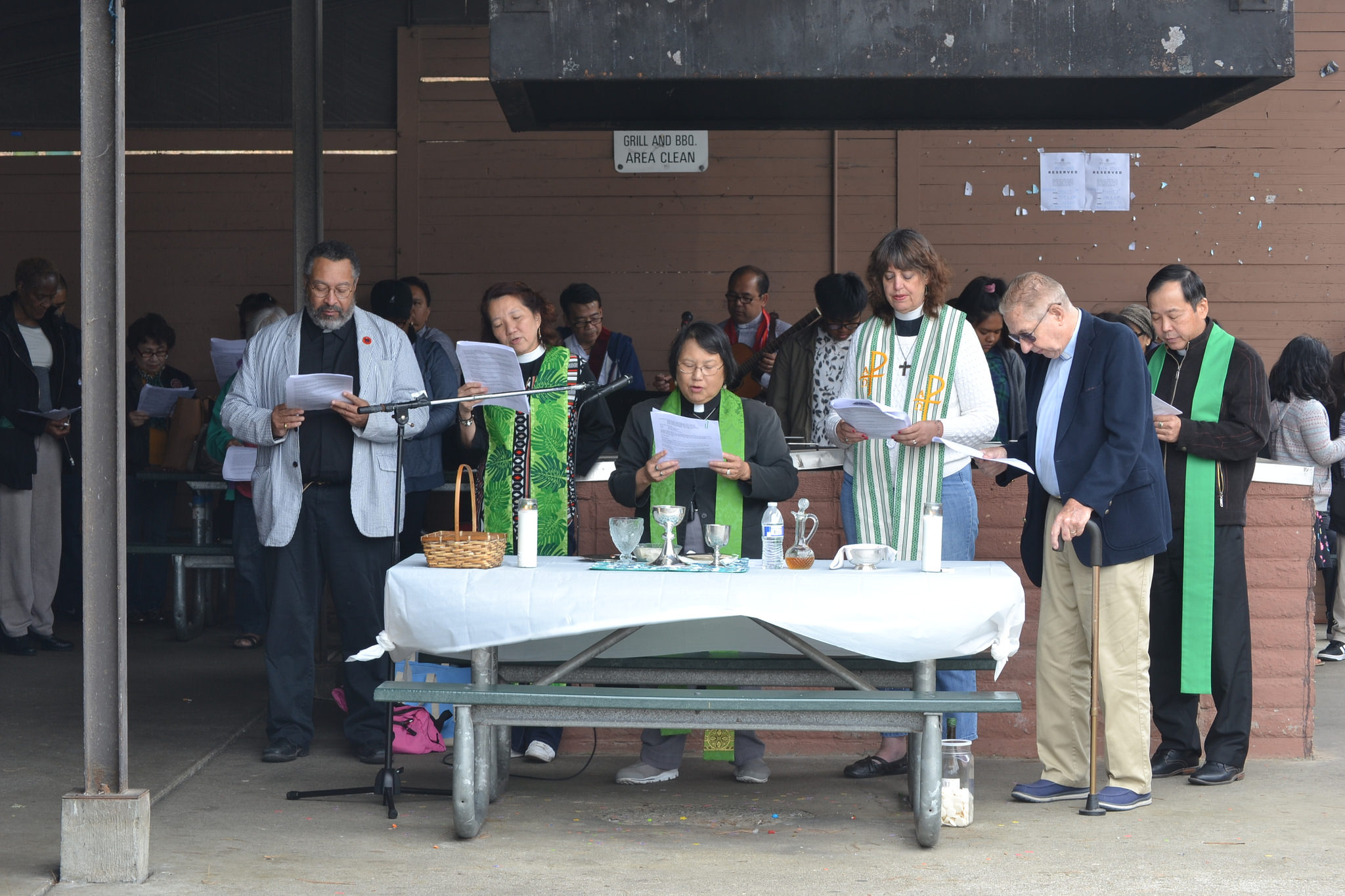 Clergy presiding at the Joint Holy Eucharist (l to r): The Revs. Eric Metoyer, Merry Chan Ong, Debbie Low-Skinner, Rebecca Goldberg, Thomas Chesterman, and Joshua Ng