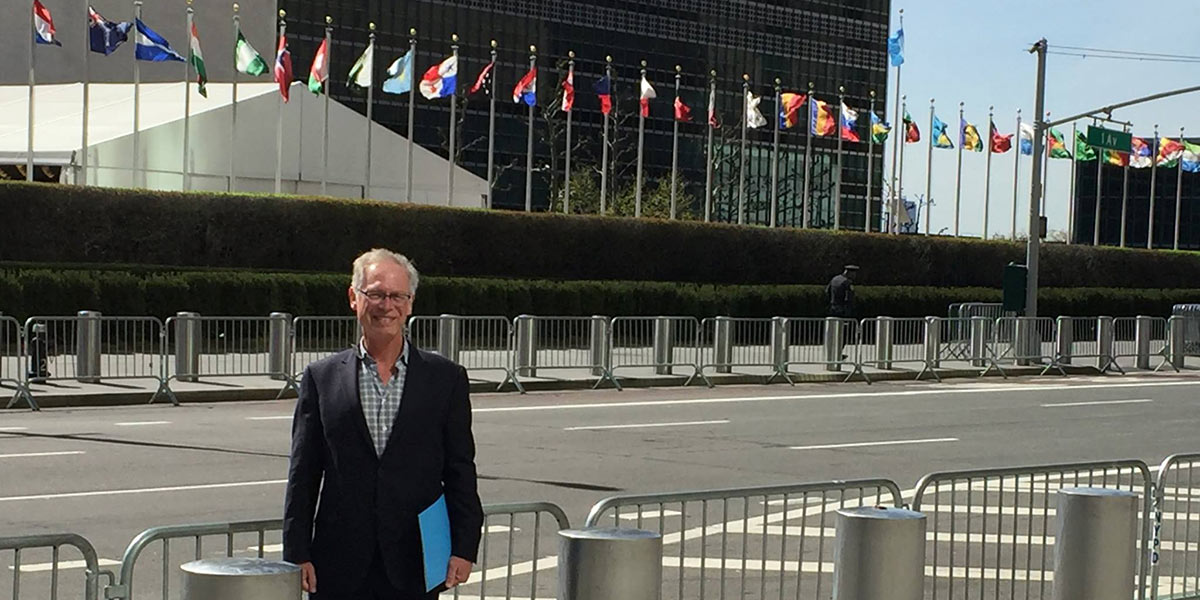 Photo of Bishop Marc outside United Nations Headquarters in New York